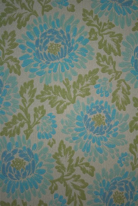 floral wallpaper vintage retro blue floral walpaper