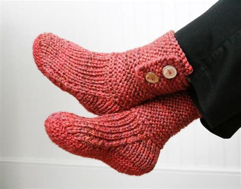 pink knitted boots pink knit slipper boots with wooden buttons