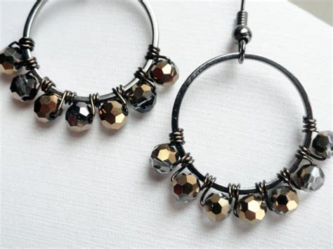 diy beaded hoop earrings hoop earrings kit wire wrapped hoops diy by handmadeintoronto