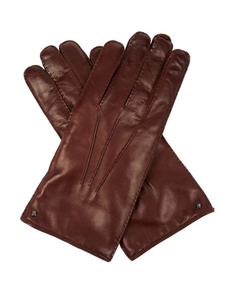 brown leather gloves mens mulberry leather gloves in brown for lyst