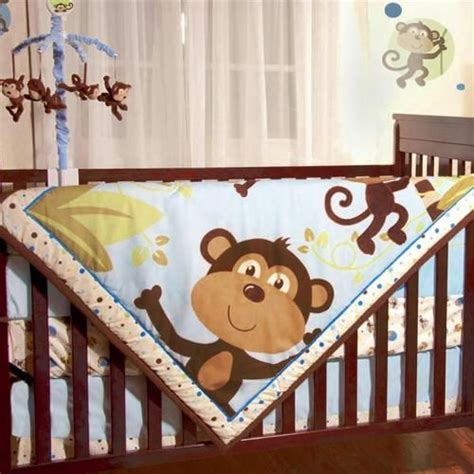 monkey crib bedding jungle safari brown monkeys baby boys 4pc animal themed