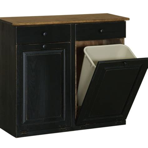 Kitchen Servers Furniture double trash cabinet with raised panel amp drawer carriage