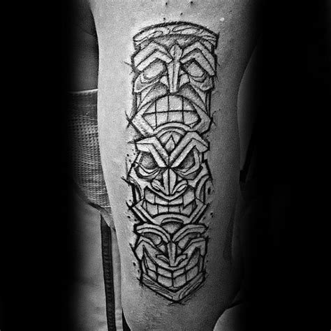 70 totem pole tattoo designs for men carved creation ink