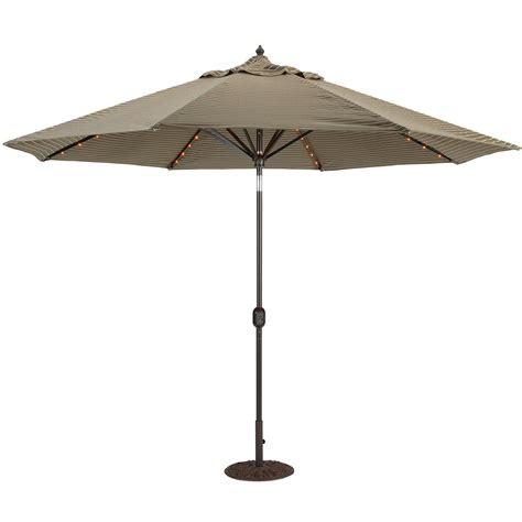 lighted patio umbrellas galtech 11 ft aluminum patio lighted umbrella with crank