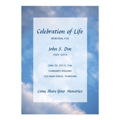 make your own memorial cards free memorial celebration of cloud sky 5 quot x 7