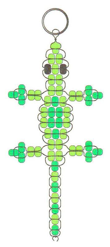 gecko pony bead pattern beaded gecko key chain