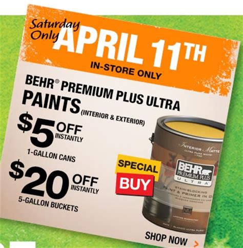 home depot paint sale today home depot save instantly on behr paint today only