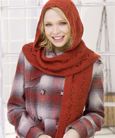 hooded shawl knitting pattern comfy hooded scarf knitting pattern