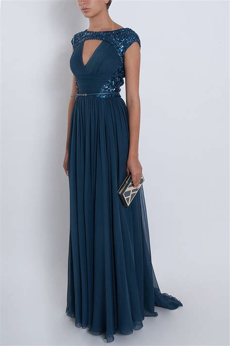 beaded cap sleeve gown elie saab chiffon beaded cap sleeve gown in blue lyst