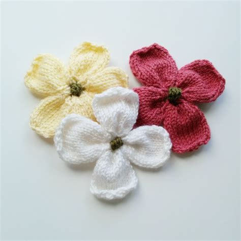 how to knit a flower knitted dogwood blossoms purl avenue