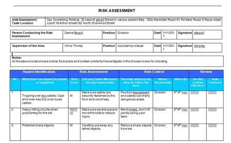 risk assessment my name is dan this is my risk assessment form