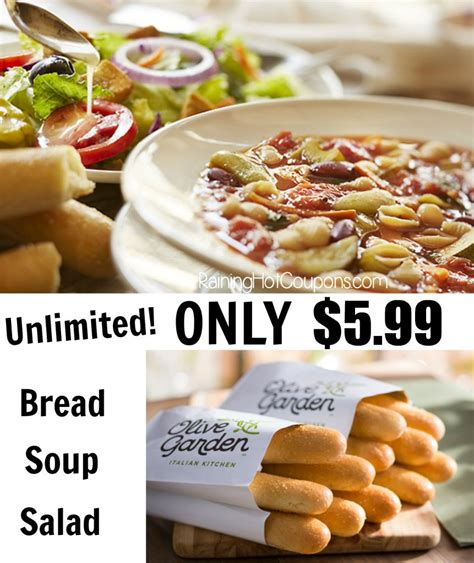 olive garden unlimited soup salad and breadsticks lunch combo only 5 99
