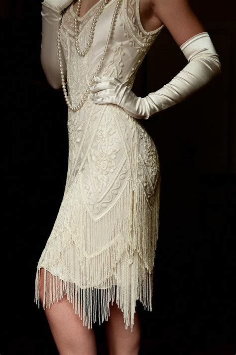 beaded charleston dress ivory beaded vintage flapper 1920 s wedding dress the
