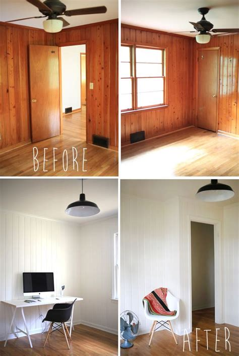 painting stained woodwork white painted wood panelling before and after office
