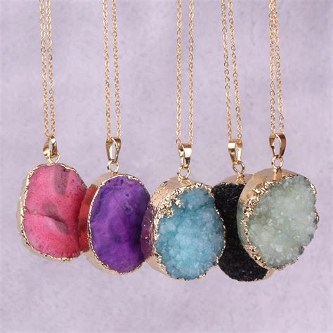 crystals jewelry microbeauty druzy pendant necklace vintage gold
