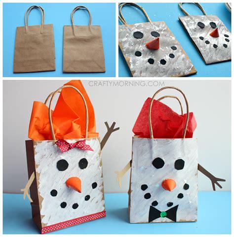 paper bag snowman craft crafts yarn bag