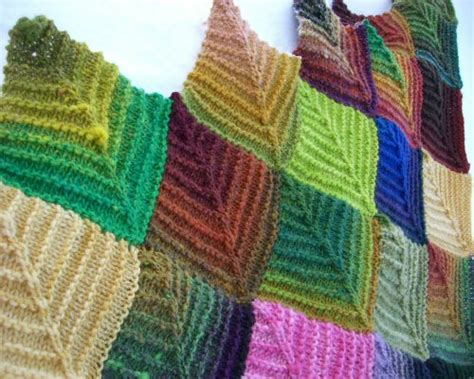 knit square knitted mitered squares alternating knit and perl looks