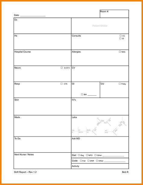 3 shift report sheet cna resumed
