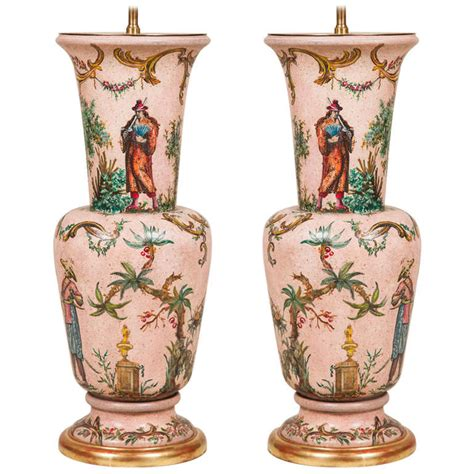 decoupage on glass vase pair oo decoupage vase ls at 1stdibs