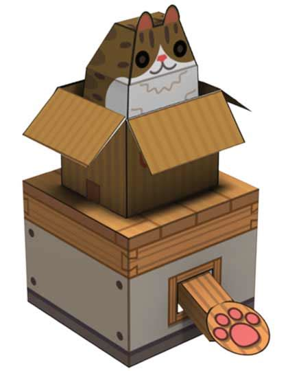box paper craft box cat papercraft papercraft paradise