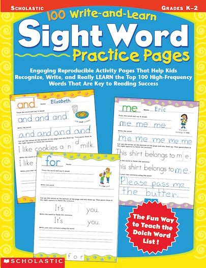 100 write and learn sight word practice pages scholastic