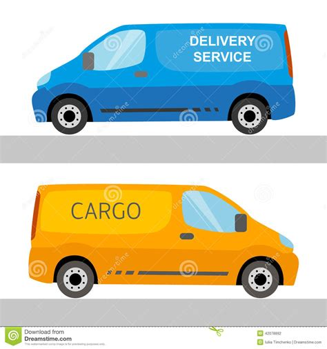orange delivery blue and orange delivery vans isolated stock vector