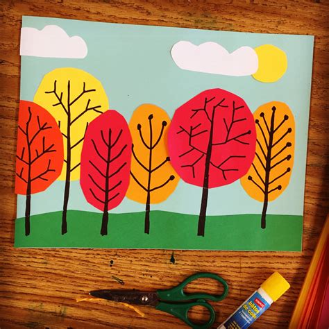 projects for toddlers overlapping tree collage projects for