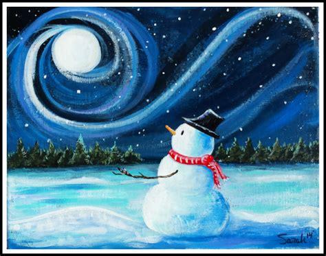 paint nite snowman sundown mountain paint create it llc