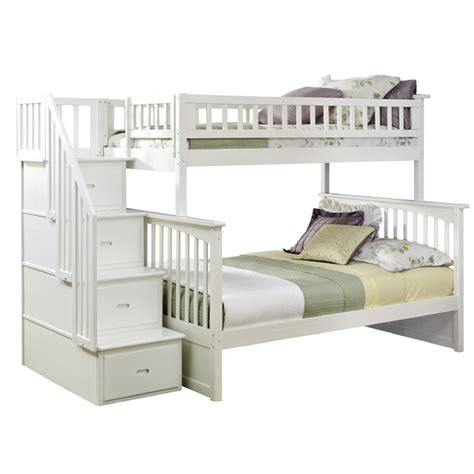 bunk beds with stairs uye home white bunk beds with stairs