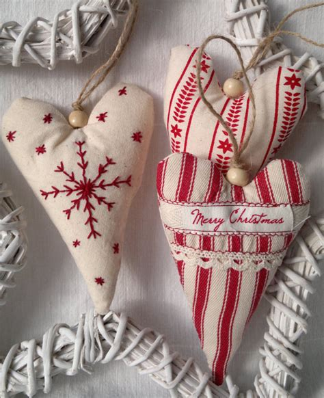 fabric decorations set of three and white fabric ornament
