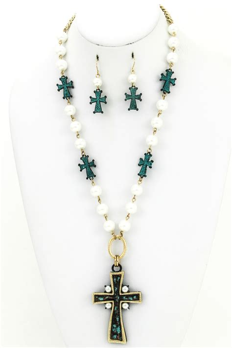 bead cross necklace beaded cross necklace set necklaces