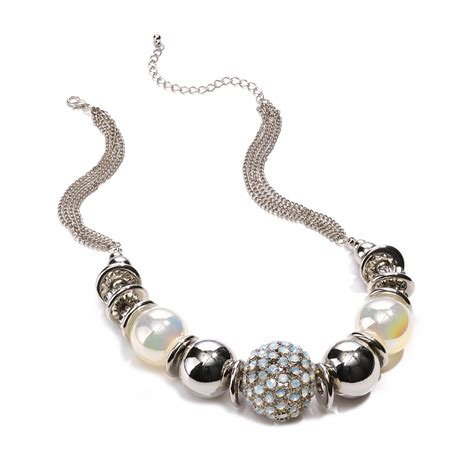 chunky beaded necklaces material silvertone chunky beaded statement necklace