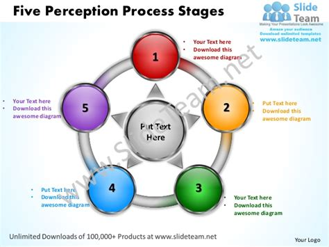 process of five perception process stages powerpoint templates 0712