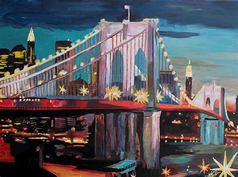 paint nite in nyc new york city manhattan bridge at painting by m