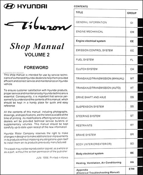 service manual 1997 hyundai tiburon repair line from a the transmission to the radiator service manual 1997 hyundai tiburon fuse box manual 1997 hyundai tiburon dispatch workshop