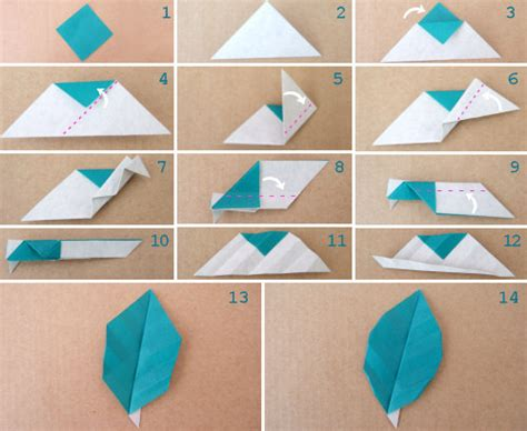 how to make paper folding crafts paper crafts origami leaf with or without veins tutorial