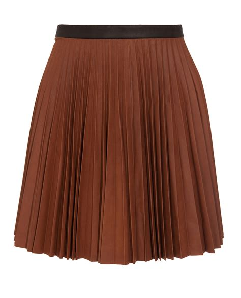 leather pleated skirt a l c leather pleated skirt in brown lyst