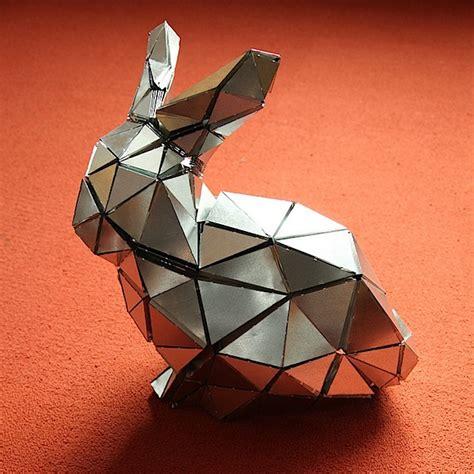 origami steel folded metal bunny make