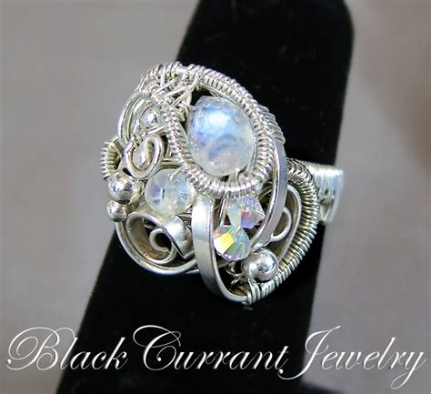flat wire jewelry moonstone ring with flat wire by blackcurrantjewelry on