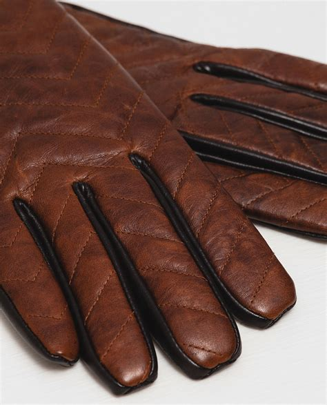 brown leather gloves mens zara zigzag leather gloves in brown for lyst