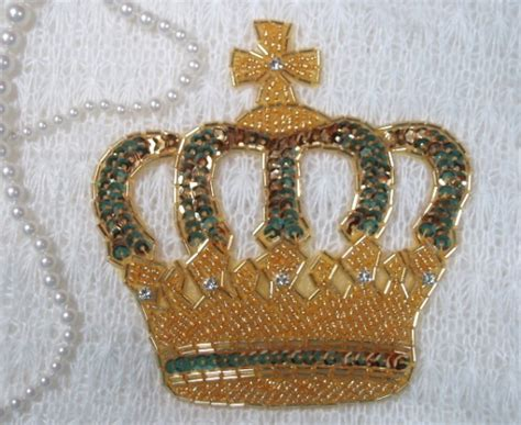 beaded crown crown sequin beaded applique gold