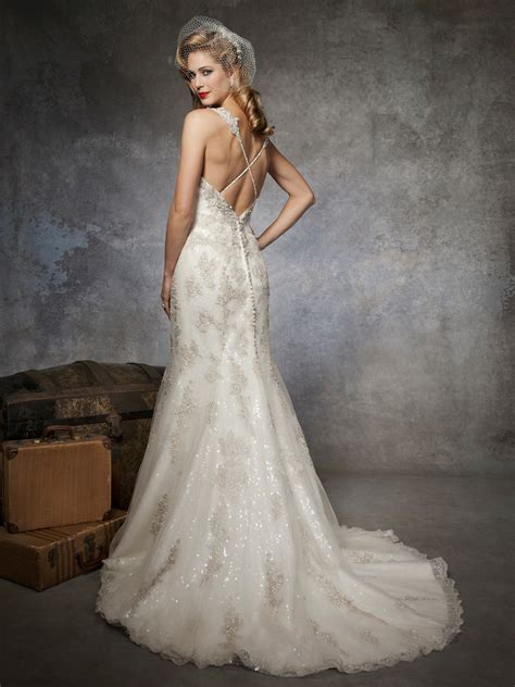 lace beaded wedding dress fully beaded lace sequin trumpet wedding dress by justin