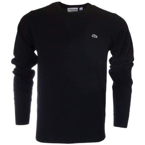 lacoste knitted jumper lacoste ah3003 plain knit black jumper lacoste from n22