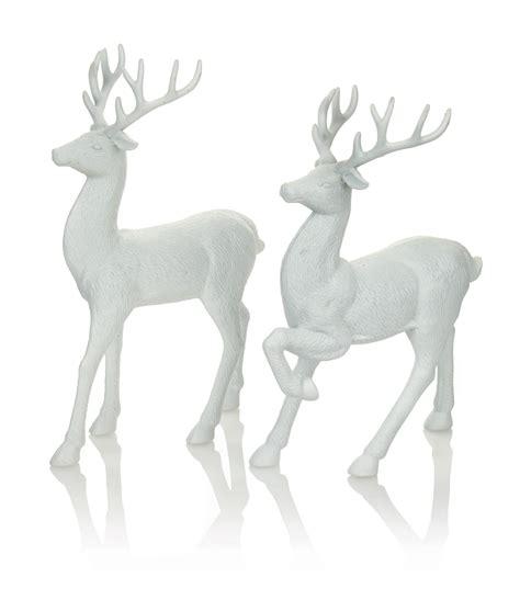 white reindeer decorations set of 2 white reindeer decorations display