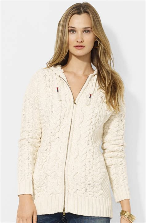 cable knit hooded cardigan by ralph hooded cable knit cardigan in beige
