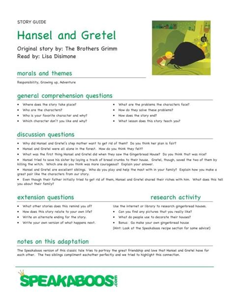 lesson plans for picture books lesson plans hansel and gretel speakaboos worksheets