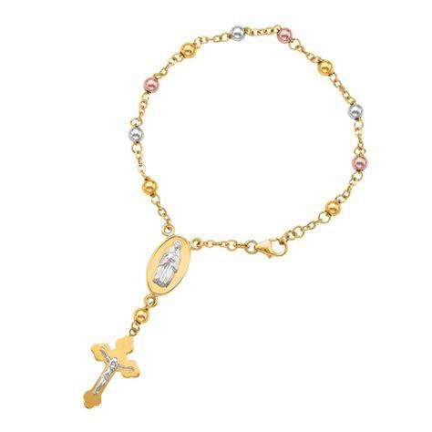 Rosary Bracelet 14k Tri Color Yellow White Gold