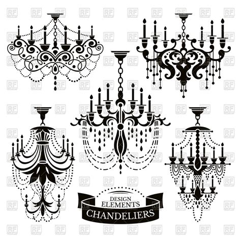 chandelier silhouette clip silhouettes of chandeliers vector image 60185 rfclipart