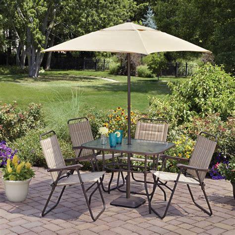 4 patio set with umbrella mainstays glenmeadow 6 folding patio dining set