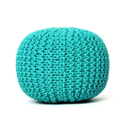 knitted poofs knitted pouf turquoise objects